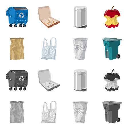 Isolated object of dump  and sort icon. Set of dump  and junk stock vector illustration.