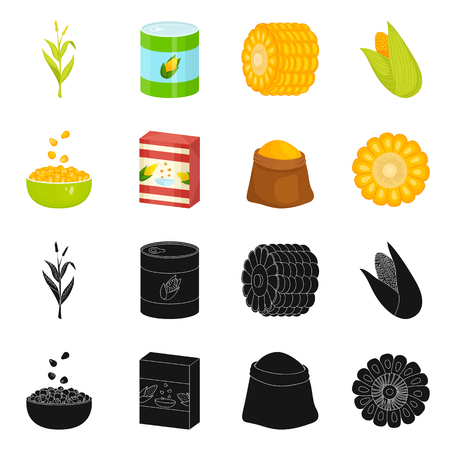 Vector illustration of cornfield and vegetable logo. Collection of cornfield and vegetarian vector icon for stock. Stockfoto - 124031136