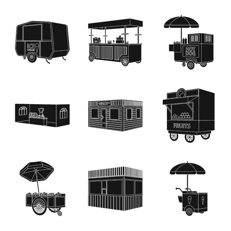 Vector illustration of container and outdoor sign. Set of container and kiosk stock vector illustration.