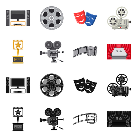 Vector design of television and filming symbol. Set of television and viewing vector icon for stock.