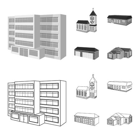 Illustration vectorielle du symbole de la façade et du logement. Collection d'illustration vectorielle stock façade et infrastructure.