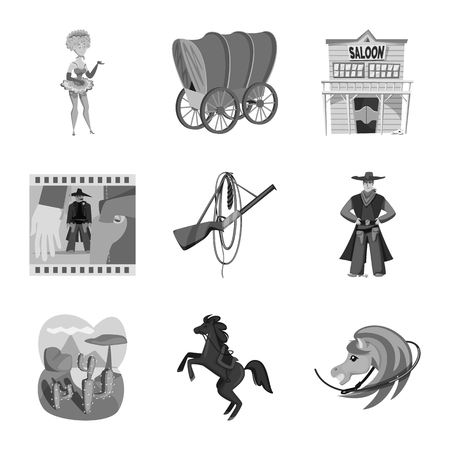 Isolated object of ranch and farm symbol. Set of ranch and history stock vector illustration. Vettoriali