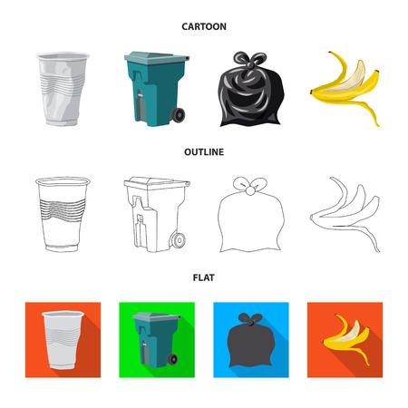 Vector design of dump and sort sign. Set of dump and junk stock vector illustration.