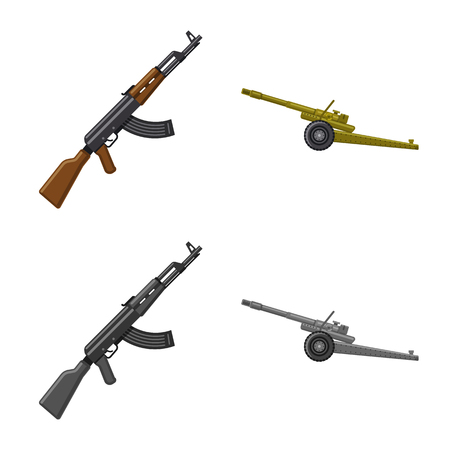 Isolated object of weapon and gun sign. Collection of weapon and army vector icon for stock. Stock Vector - 120193244