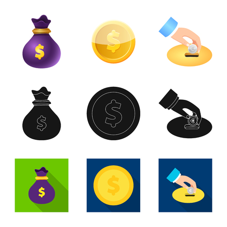 Isolated object of bank and money icon. Set of bank and bill stock vector illustration.