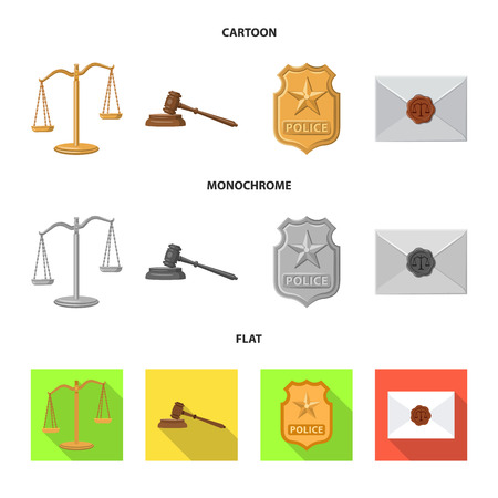 Vector design of law and lawyer symbol. Set of law and justice stock symbol for web. Stock Illustratie