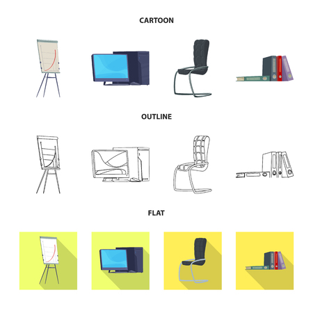 Vector illustration of furniture and work. Collection of furniture and home stock vector illustration. Vectores