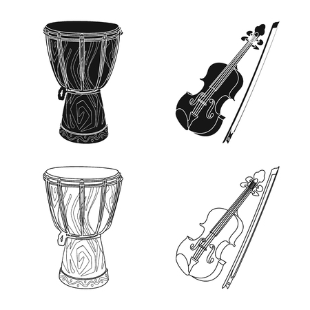 Isolated object of music and tune. Set of music and tool stock vector illustration. Banque d'images - 120193357