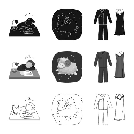 Vector illustration of dreams and night. Collection of dreams and bedroom stock vector illustration.