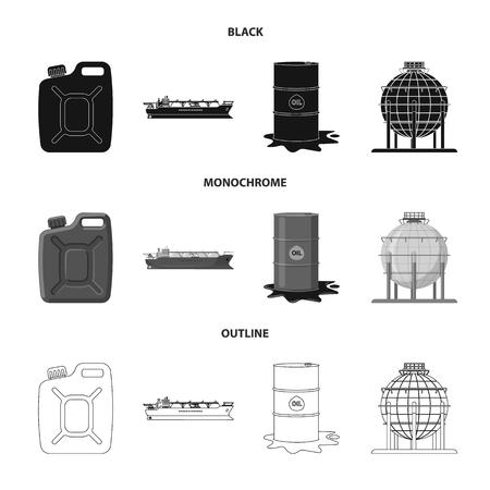 Isolated object of oil and gas. Set of oil and petrol stock vector illustration. Vektoros illusztráció