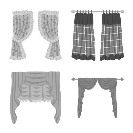 Isolated object of interior and cornice symbol. Set of interior and drapes vector icon for stock. Иллюстрация