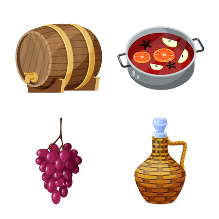 Isolated object of grape and winery. Set of grape and manufacturing stock symbol for web.