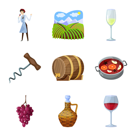 Isolated object of grape and winery symbol. Collection of grape and manufacturing vector icon for stock.