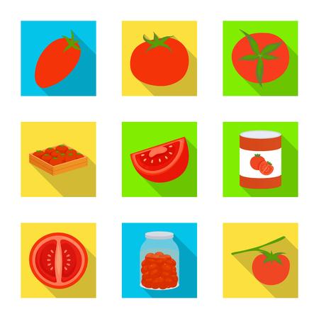 Vector design of vegetable and delicious sign. Set of vegetable and natural stock vector illustration. Ilustração