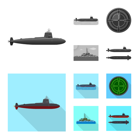 Isolated object of war  and ship. Set of war  and fleet stock vector illustration.