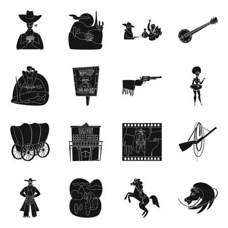 Objeto aislado de peligro y signo de cultura. Colección de icono de vector de peligro y oeste para stock. Ilustración de vector
