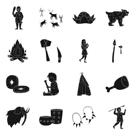 Vector illustration of survival and primeval logo. Collection of survival and stone stock vector illustration.