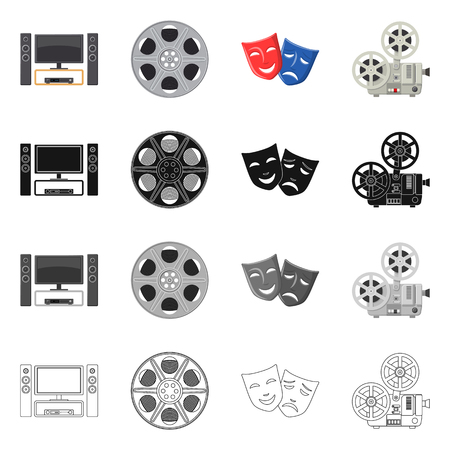 Isolated object of television and filming icon. Set of television and viewing vector icon for stock.