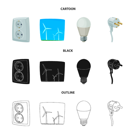 Vector design of electricity and electric sign. Set of electricity and energy stock symbol for web.