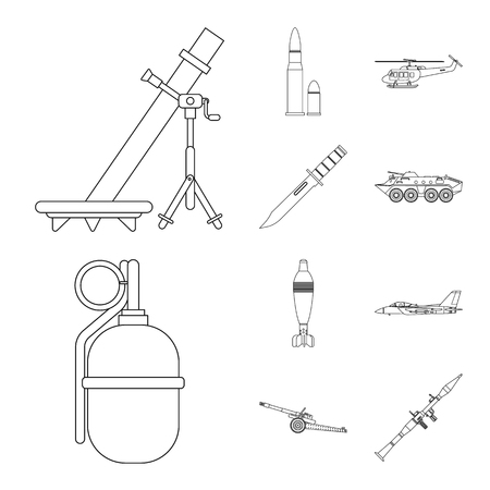 Vector illustration of weapon and gun symbol. Set of weapon and army vector icon for stock. Illustration