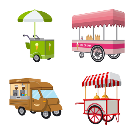 Vector illustration of booth and kiosk symbol. Collection of booth and small vector icon for stock.