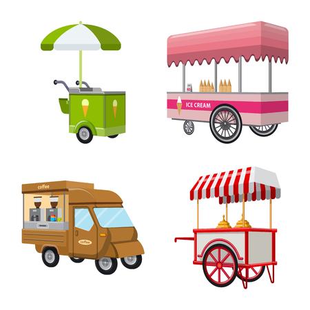 Vektorillustration des Stand- und Kiosksymbols. Sammlung von Stand und kleinen Vektorsymbolen für Aktien.