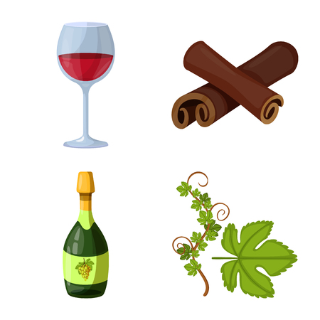 Vector design of grape and winery icon. Collection of grape and manufacturing stock symbol for web.