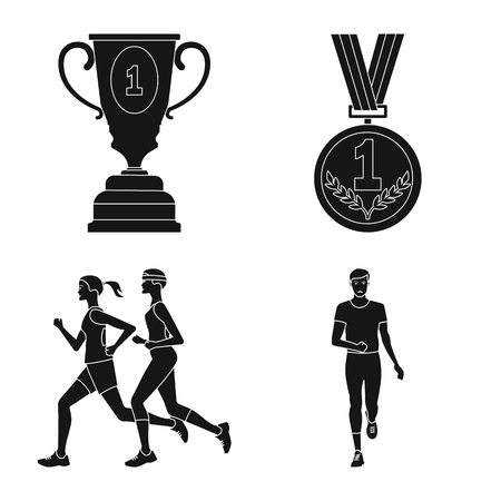 Vector illustration of health and fitness icon. Set of health and sprint stock symbol for web.