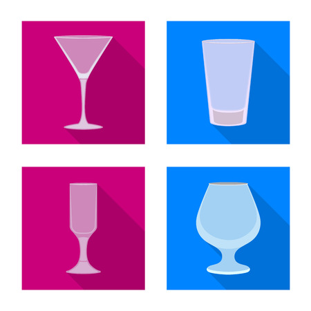 Vector design of drinks and restaurant logo. Set of drinks and celebration stock symbol for web.