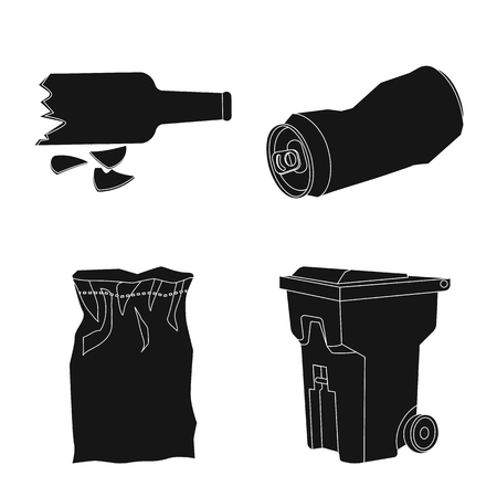 Vector illustration of refuse and junk. Collection of refuse and waste vector icon for stock. Illustration