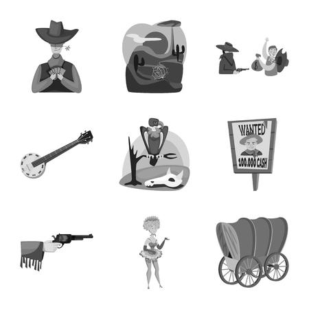 Objeto aislado del símbolo del rancho y la granja. Colección de icono de vector de rancho e historia para stock.