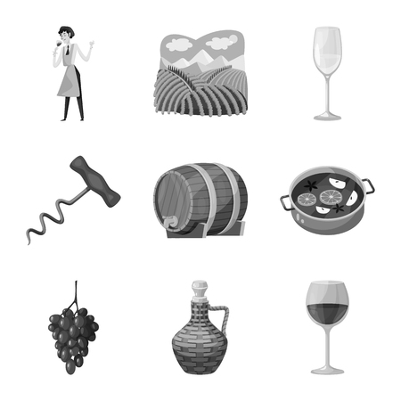 Vector design of stamp and restaurant sign. Set of stamp and vineyard stock symbol for web. Vecteurs