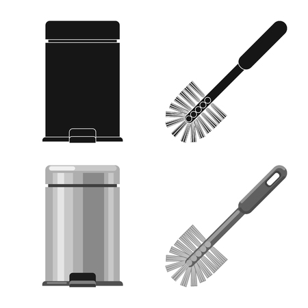 Vector illustration of cleaning and service symbol. Set of cleaning and household vector icon for stock. Ilustração