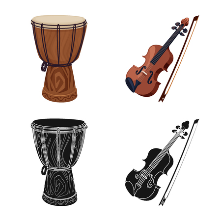 Isolated object of music and tune sign. Collection of music and tool stock symbol for web. Banque d'images - 120439912