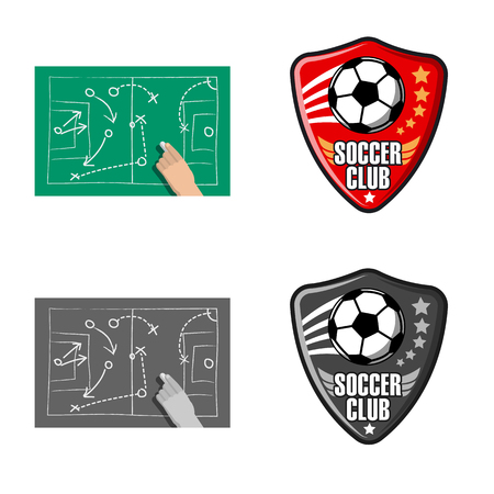Isolated object of soccer and gear symbol. Set of soccer and tournament vector icon for stock.