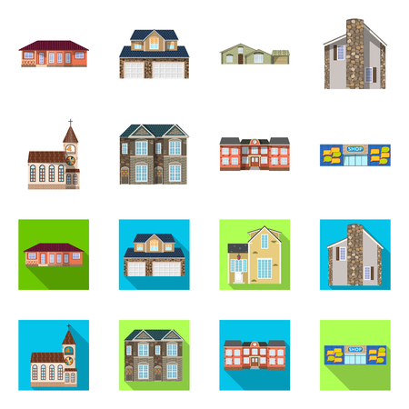 Isolated object of building and front icon. Collection of building and roof stock symbol for web.