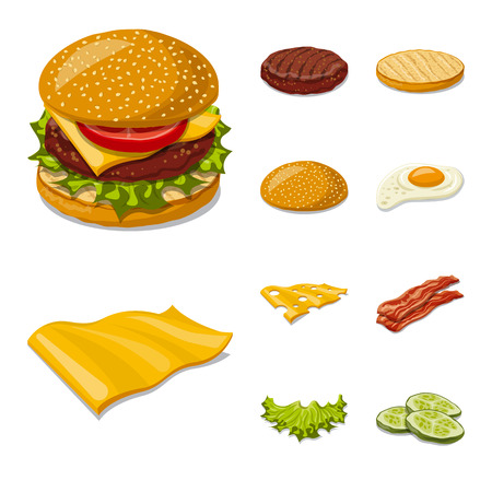 Isolated object of burger and sandwich sign. Set of burger and slice vector icon for stock.