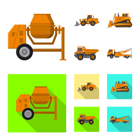 Isolated object of build and construction. Set of build and machinery stock vector illustration.