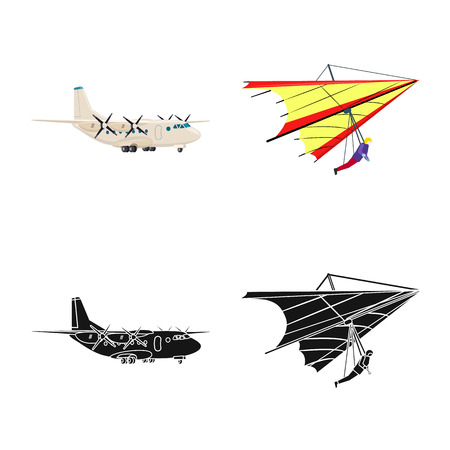 Isolated object of plane and transport icon. Collection of plane and sky stock symbol for web. Çizim