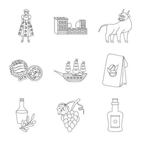 Vector design of tourism and landmark icon. Collection of tourism and european vector icon for stock.
