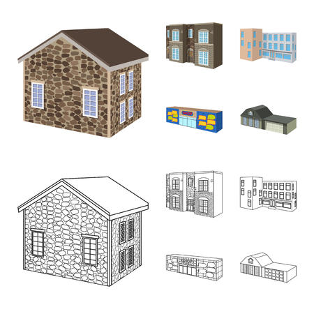 Vector design of facade and housing. Set of facade and infrastructure stock vector illustration.