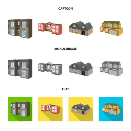 Vector design of facade and housing symbol. Set of facade and infrastructure vector icon for stock.