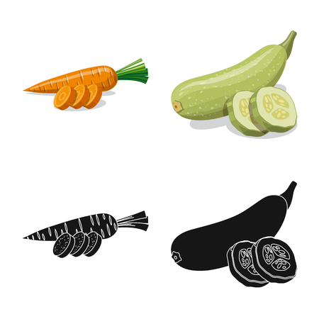 Isolated object of vegetable and fruit. Collection of vegetable and vegetarian vector icon for stock. Ilustracja