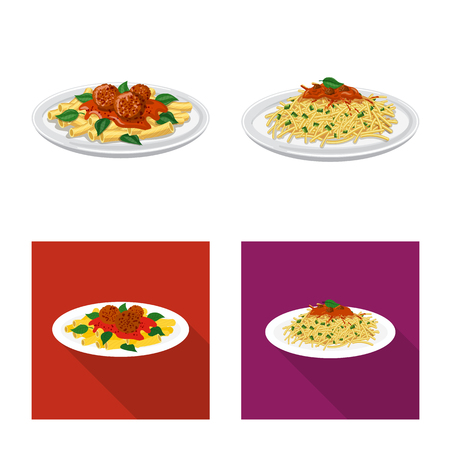 Vector illustration of pasta and carbohydrate sign. Set of pasta and macaroni stock vector illustration. Иллюстрация