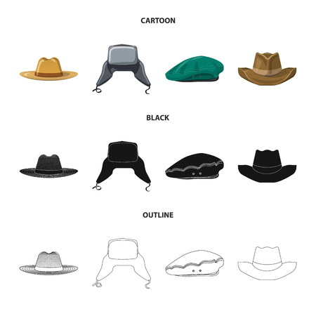 Vektorillustration von Kopfbedeckung und Kappensymbol. Sammlung von Kopfbedeckungen und Zubehör auf Lager Vektor-Illustration.