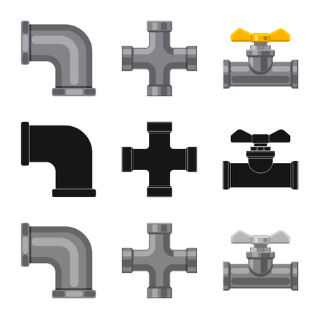 Illustration vectorielle de signe de tuyau et de tube. Collection d'illustration vectorielle stock tuyau et pipeline.