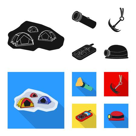 Vector design of mountaineering and peak. Set of mountaineering and camp stock vector illustration.