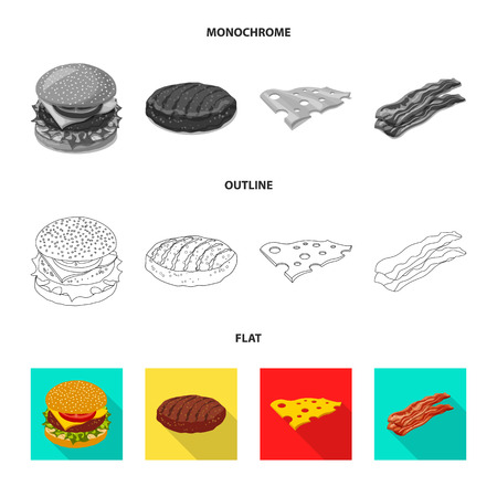 Vector design of burger and sandwich icon. Collection of burger and slice stock symbol for web.