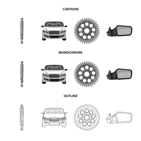 Vector design of auto and part logo. Collection of auto and car stock vector illustration. Ilustração