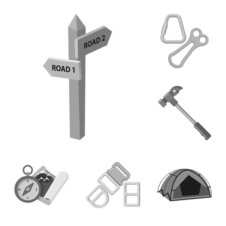 Vector illustration of mountaineering and peak sign. Set of mountaineering and camp stock vector illustration.
